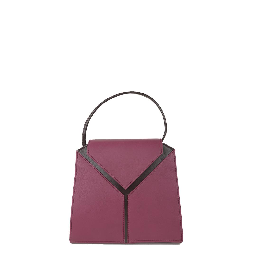 Yasmin Magenta Plum Leather Evening Shoulder Bag