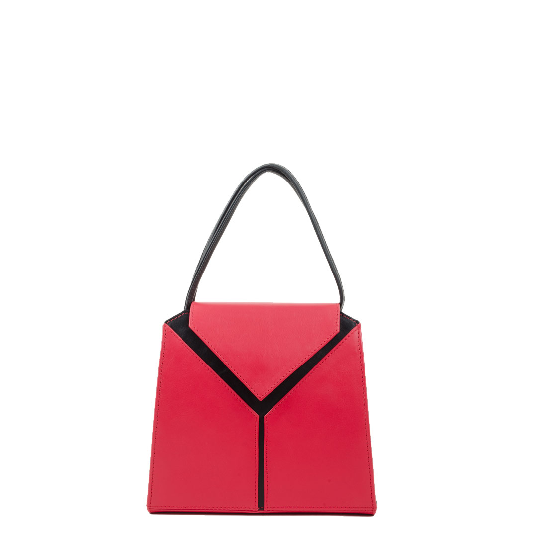 Yasmin Coral Red Black Leather Evening Shoulder Bag