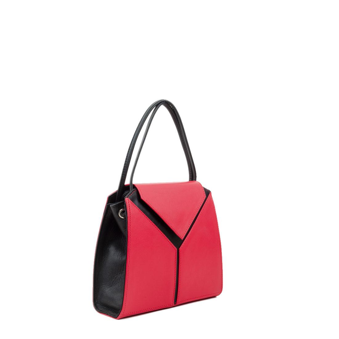 Yasmin Coral Red Black Leather Evening Shoulder Bag
